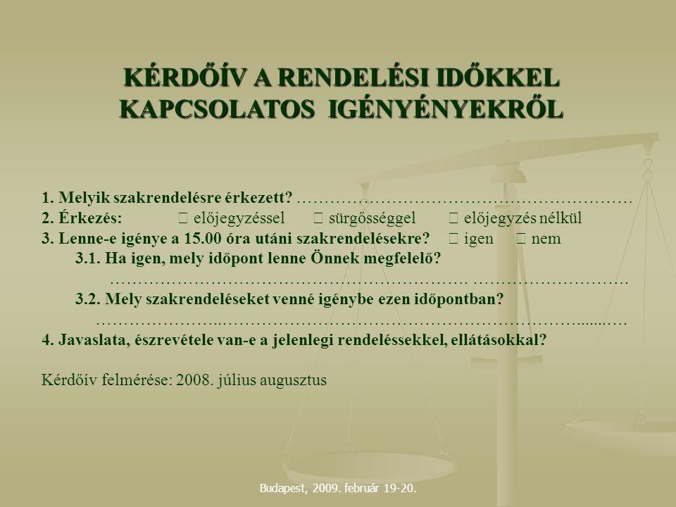 Budapest, 2009. február 19-20. 1. Melyik szakrendelésre érkezett? …………………………………………………… 2. Érkezés:  előjegyzéssel sürgősséggel előjegyzés nélkül 3.
