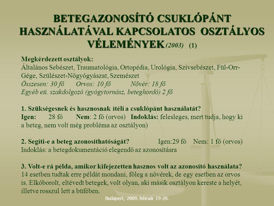Budapest, 2009. február 19-20. Megkérdezett osztályok: Általános Sebészet, Traumatológia, Ortopédia, Urológia, Szívsebészet, Fül-Orr- Gége, Szülészet-