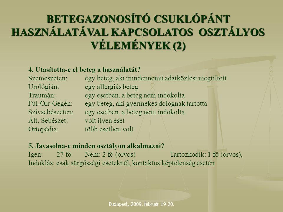 Budapest, 2009. február 19-20. 4. Utasította-e el beteg a használatát? Szemészeten:egy beteg, aki mindennemű adatközlést megtiltott Urológián:egy alle