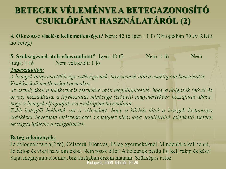 Budapest, 2009. február 19-20. 4. Okozott-e viselése kellemetlenséget? Nem: 42 fő Igen : 1 fő (Ortopédián 50 év feletti nő beteg) 5. Szükségesnek ítél