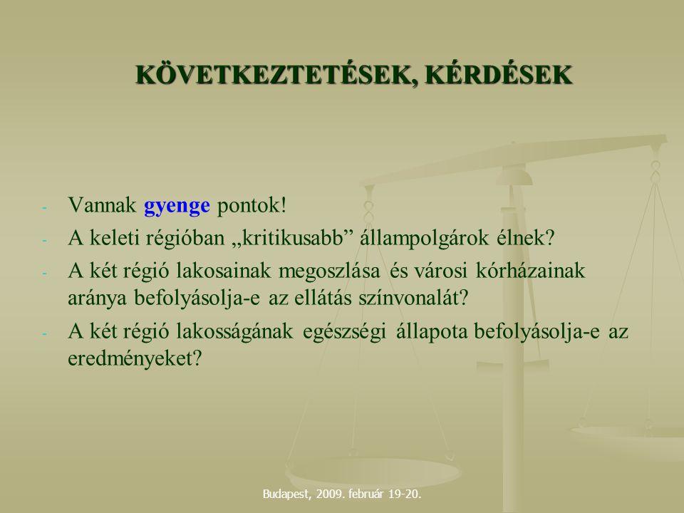 """Budapest, 2009. február 19-20. KÖVETKEZTETÉSEK, KÉRDÉSEK - - Vannak gyenge pontok! - - A keleti régióban """"kritikusabb"""" állampolgárok élnek? - - A két"""