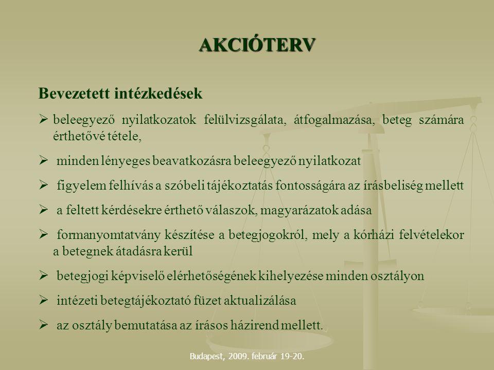 Budapest, 2009. február 19-20. AKCIÓTERV Bevezetett intézkedések  beleegyező nyilatkozatok felülvizsgálata, átfogalmazása, beteg számára érthetővé té