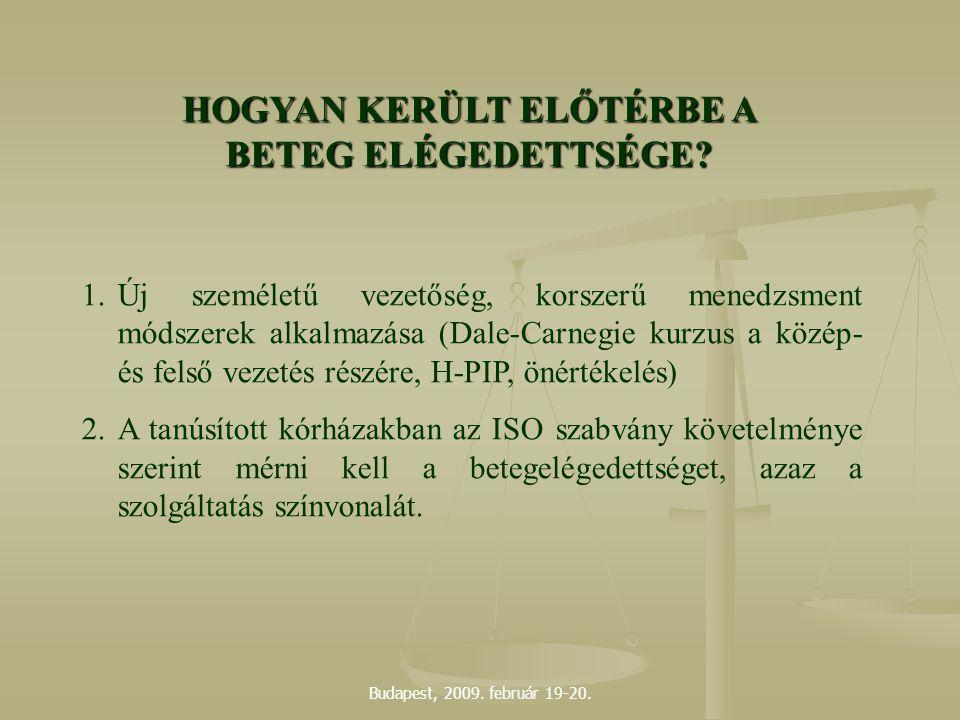 Budapest, 2009. február 19-20. HOGYAN KERÜLT ELŐTÉRBE A BETEG ELÉGEDETTSÉGE? 1.Új személetű vezetőség, korszerű menedzsment módszerek alkalmazása (Dal