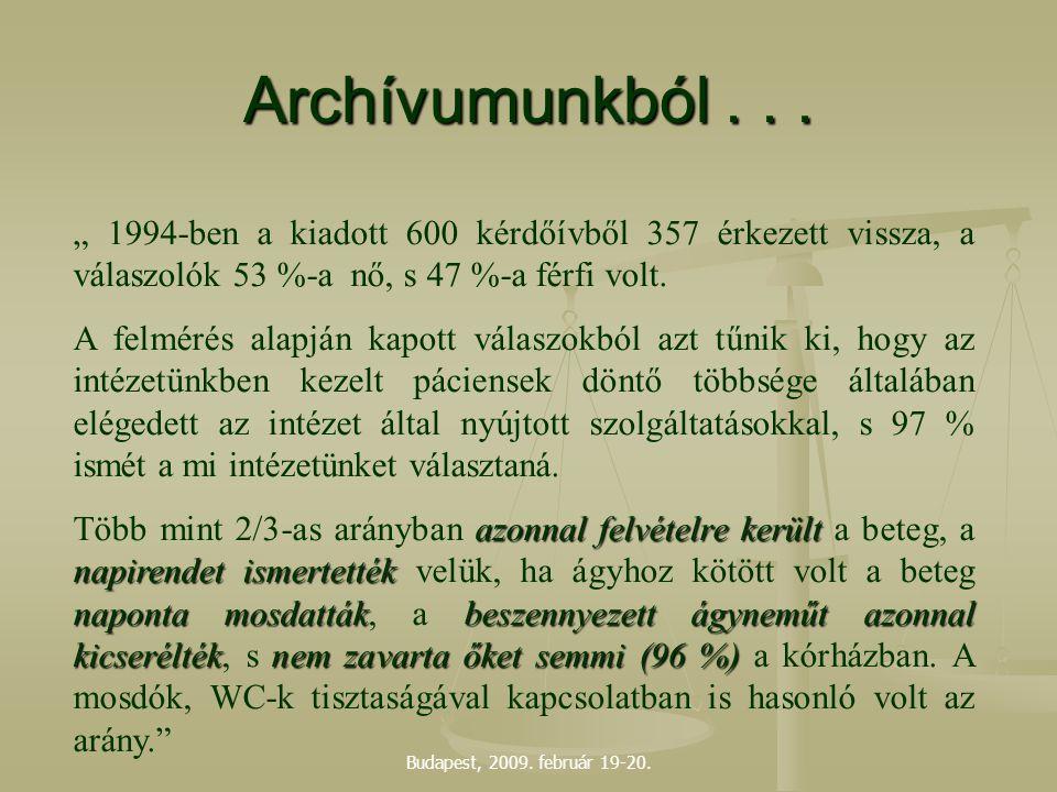 """Budapest, 2009. február 19-20. Archívumunkból... """" 1994-ben a kiadott 600 kérdőívből 357 érkezett vissza, a válaszolók 53 %-a nő, s 47 %-a férfi volt."""