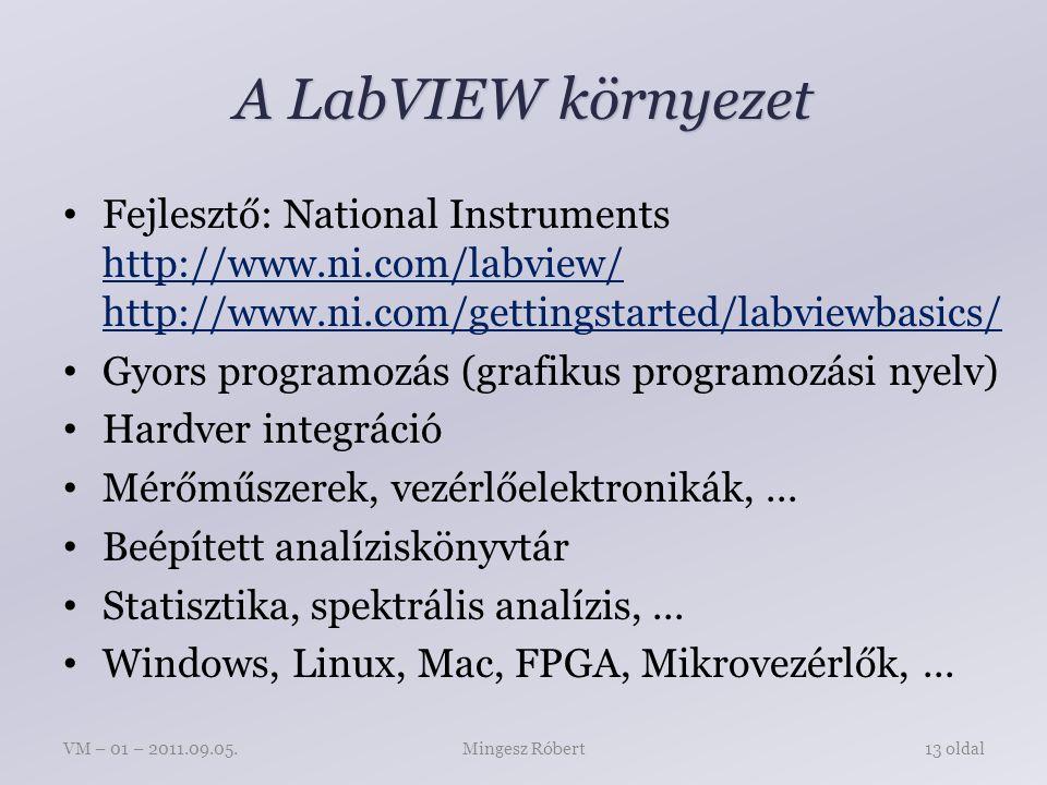 A LabVIEW környezet Fejlesztő: National Instruments http://www.ni.com/labview/ http://www.ni.com/gettingstarted/labviewbasics/ Gyors programozás (grafikus programozási nyelv) Hardver integráció Mérőműszerek, vezérlőelektronikák,...