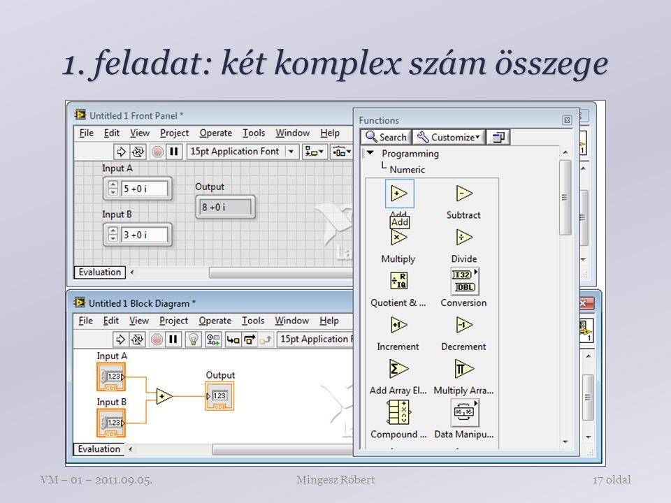 1. feladat: két komplex szám összege Mingesz RóbertVM – 01 – 2011.09.05.17 oldal