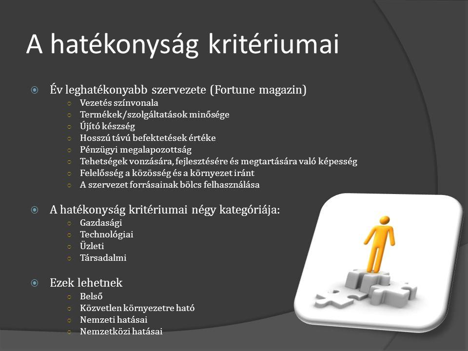 A hatékonyság kritériumai  Év leghatékonyabb szervezete (Fortune magazin) ○ Vezetés színvonala ○ Termékek/szolgáltatások minősége ○ Újító készség ○ H