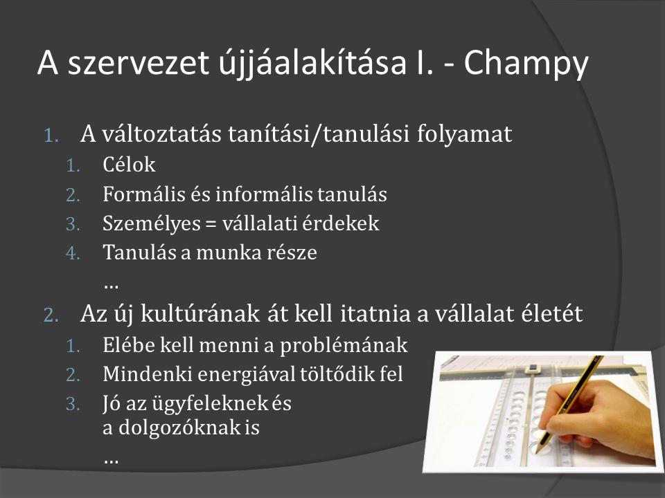 A szervezet újjáalakítása I. - Champy 1. A változtatás tanítási/tanulási folyamat 1. Célok 2. Formális és informális tanulás 3. Személyes = vállalati