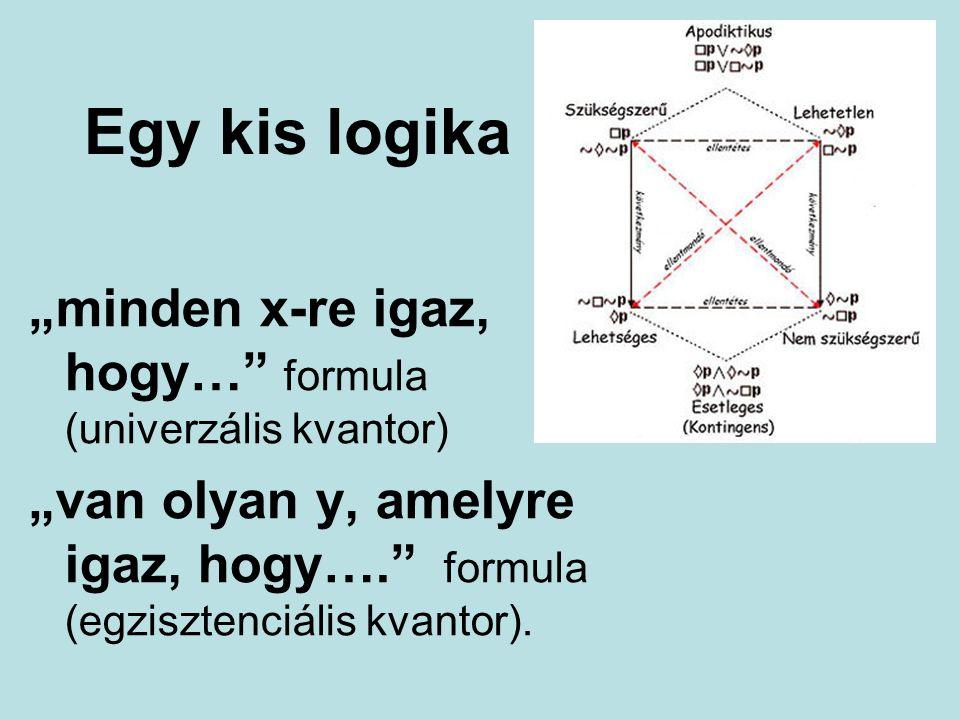 """Egy kis logika """"minden x-re igaz, hogy… formula (univerzális kvantor) """"van olyan y, amelyre igaz, hogy…. formula (egzisztenciális kvantor)."""