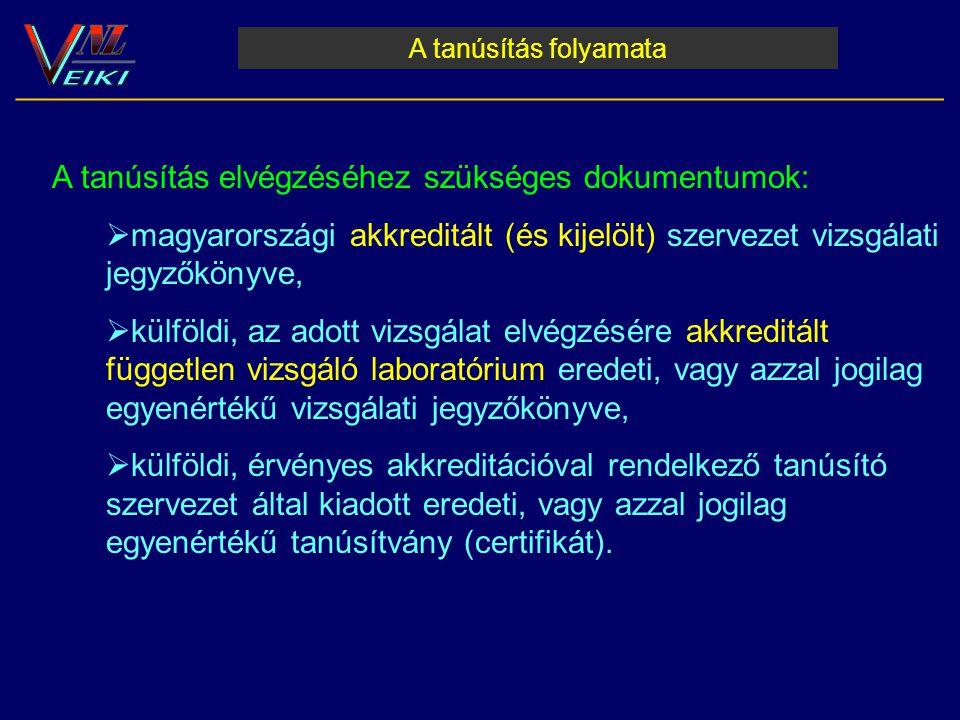 A tanúsítás folyamata __________________________________________________________ A tanúsítás elvégzéséhez szükséges dokumentumok:  magyarországi akkr