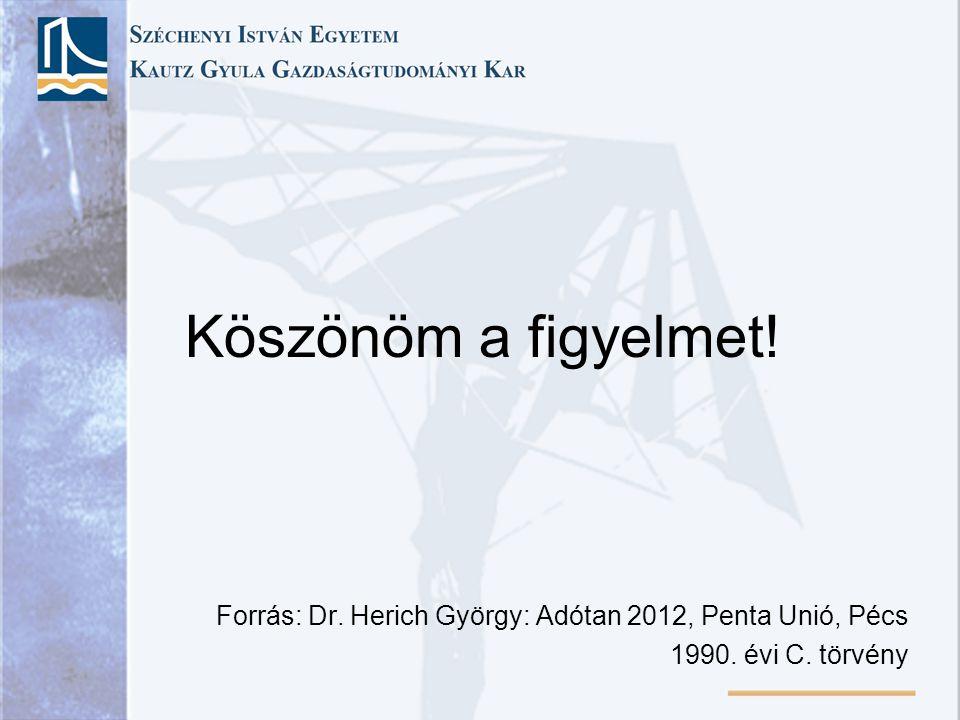 Köszönöm a figyelmet! Forrás: Dr. Herich György: Adótan 2012, Penta Unió, Pécs 1990. évi C. törvény