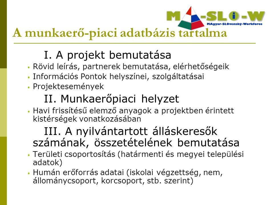 I. A projekt bemutatása Rövid leírás, partnerek bemutatása, elérhetőségeik Információs Pontok helyszínei, szolgáltatásai Projektesemények II. Munkaerő