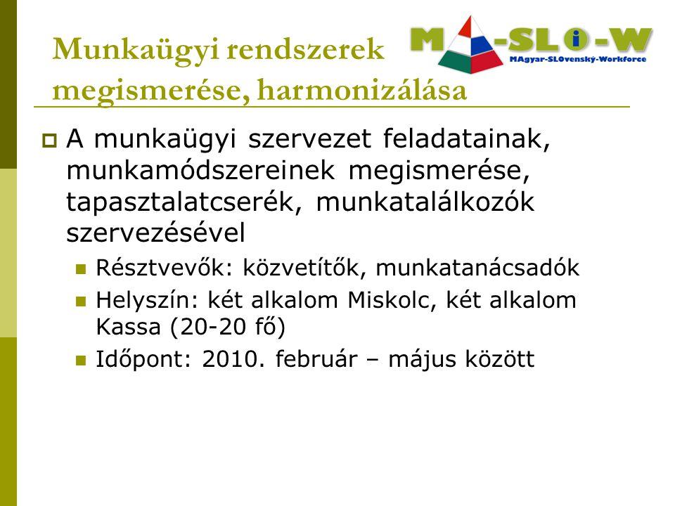  A munkaügyi szervezet feladatainak, munkamódszereinek megismerése, tapasztalatcserék, munkatalálkozók szervezésével Résztvevők: közvetítők, munkatanácsadók Helyszín: két alkalom Miskolc, két alkalom Kassa (20-20 fő) Időpont: 2010.
