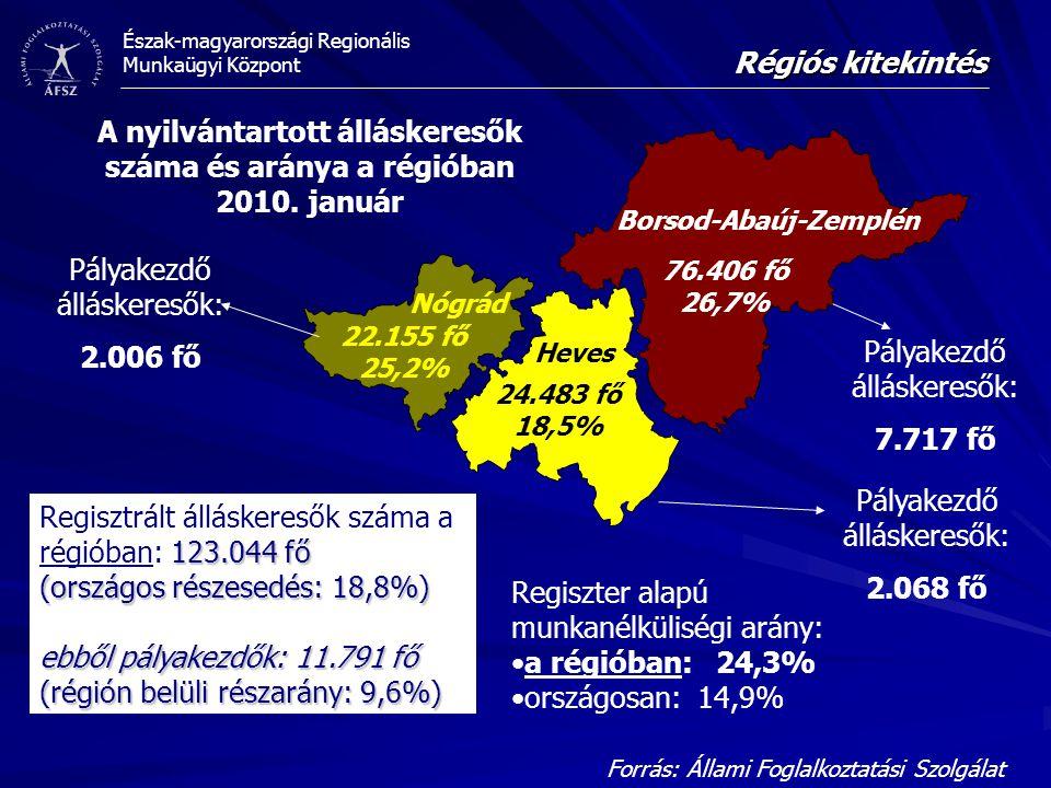 Észak-magyarországi Regionális Munkaügyi Központ 76.406 fő 26,7% 24.483 fő 18,5% 22.155 fő 25,2% A nyilvántartott álláskeresők száma és aránya a régióban 2010.