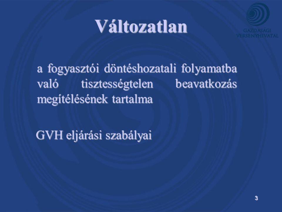 3 Változatlan a fogyasztói döntéshozatali folyamatba való tisztességtelen beavatkozás megítélésének tartalma a fogyasztói döntéshozatali folyamatba való tisztességtelen beavatkozás megítélésének tartalma GVH eljárási szabályai GVH eljárási szabályai