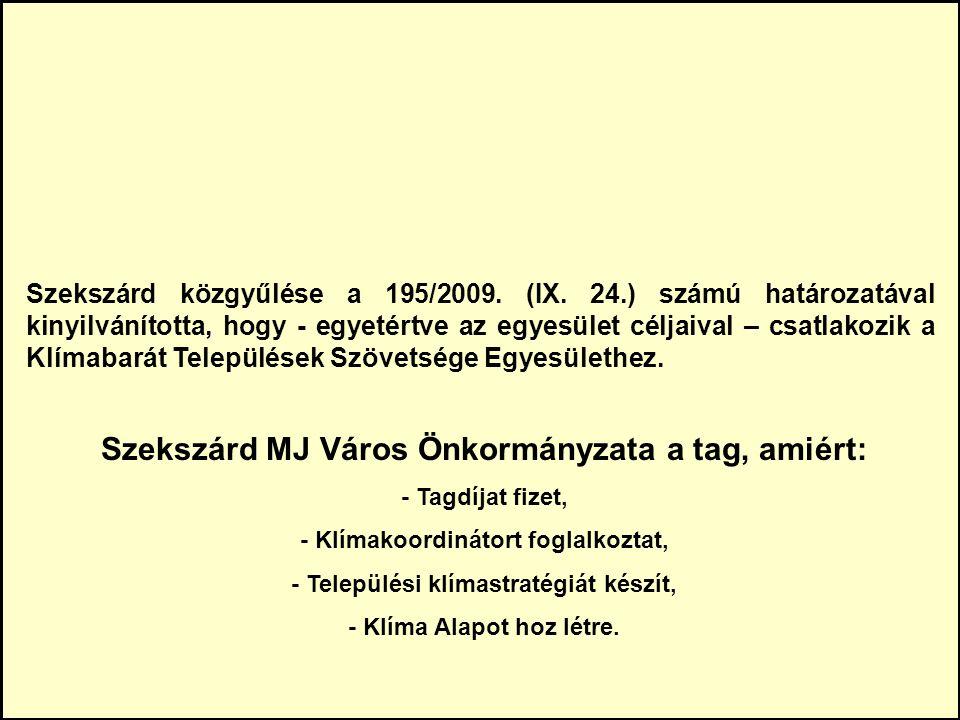 Szekszárd közgyűlése a 195/2009. (IX.