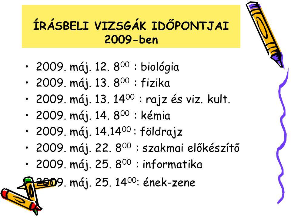 ÍRÁSBELI VIZSGÁK IDŐPONTJAI 2009-ben 2009. máj. 12. 8 00 : biológia 2009. máj. 13. 8 00 : fizika 2009. máj. 13. 14 00 : rajz és viz. kult. 2009. máj.