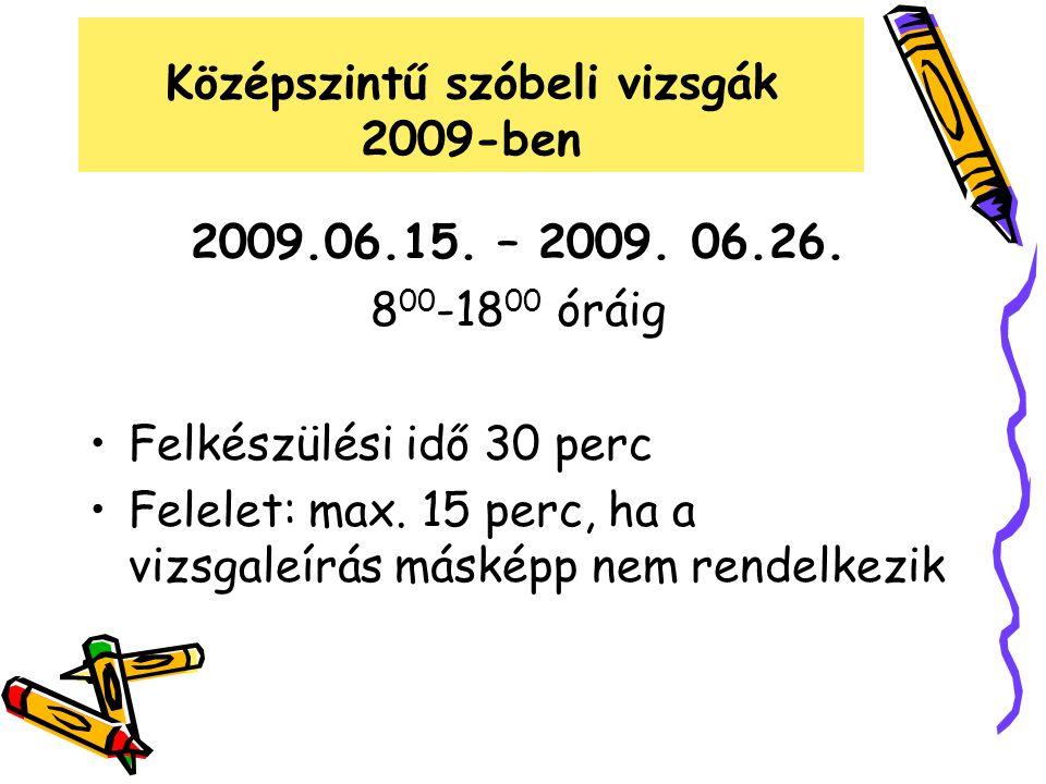 Középszintű szóbeli vizsgák 2009-ben 2009.06.15. – 2009. 06.26. 8 00 -18 00 óráig Felkészülési idő 30 perc Felelet: max. 15 perc, ha a vizsgaleírás má
