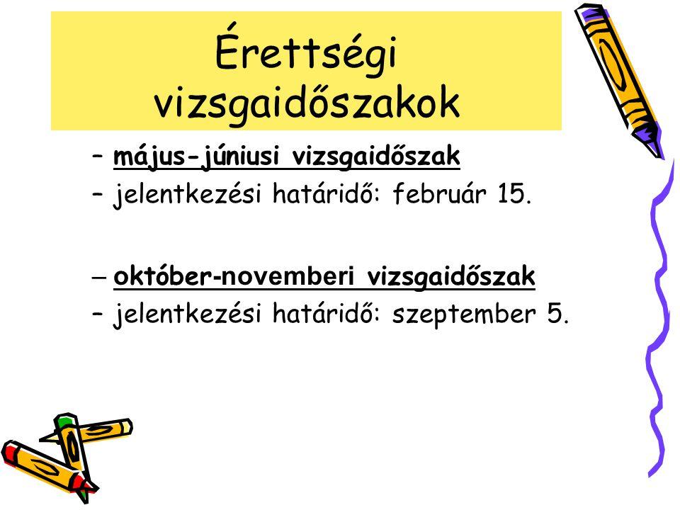 Érettségi vizsgaidőszakok –május-júniusi vizsgaidőszak –jelentkezési határidő: február 15. –o któber -novemberi vizsgaidőszak –jelentkezési határidő: