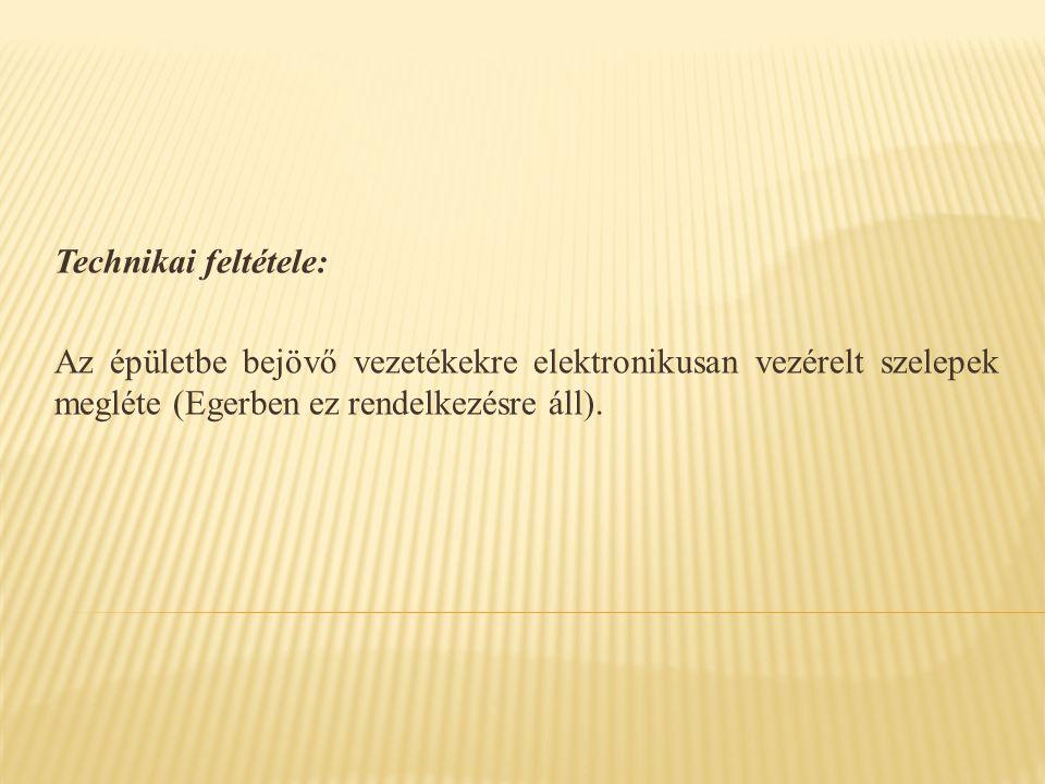 Technikai feltétele: Az épületbe bejövő vezetékekre elektronikusan vezérelt szelepek megléte (Egerben ez rendelkezésre áll).