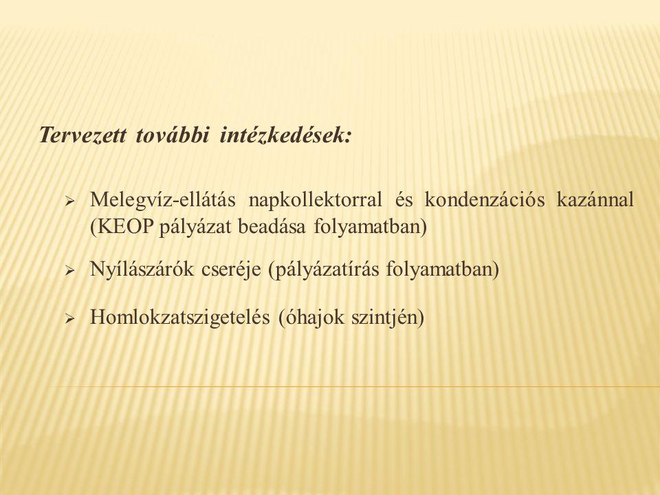 Tervezett további intézkedések:  Melegvíz-ellátás napkollektorral és kondenzációs kazánnal (KEOP pályázat beadása folyamatban)  Nyílászárók cseréje (pályázatírás folyamatban)  Homlokzatszigetelés (óhajok szintjén)