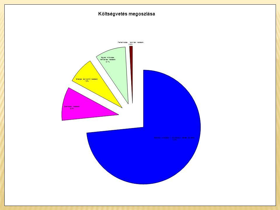 mFt% Személyi juttatások + munkáltatót terhelő járulékok5 459 34273,4 Élelmiszer kiadások706 8559,5 Energia és közmű kiadások563 9847,6 Egyéb működési, fenntartási kiadások646 1868,7 Felhalmozási, felújítási kiadások62 2510,8 Ö s s z e s e n7 438 618