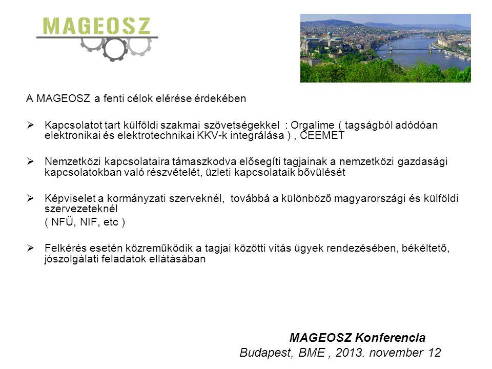 A MAGEOSZ a fenti célok elérése érdekében  Kapcsolatot tart külföldi szakmai szövetségekkel : Orgalime ( tagságból adódóan elektronikai és elektrotechnikai KKV-k integrálása ), CEEMET  Nemzetközi kapcsolataira támaszkodva elősegíti tagjainak a nemzetközi gazdasági kapcsolatokban való részvételét, üzleti kapcsolataik bővülését  Képviselet a kormányzati szerveknél, továbbá a különböző magyarországi és külföldi szervezeteknél ( NFÜ, NIF, etc )  Felkérés esetén közreműködik a tagjai közötti vitás ügyek rendezésében, békéltető, jószolgálati feladatok ellátásában MAGEOSZ Konferencia Budapest, BME, 2013.