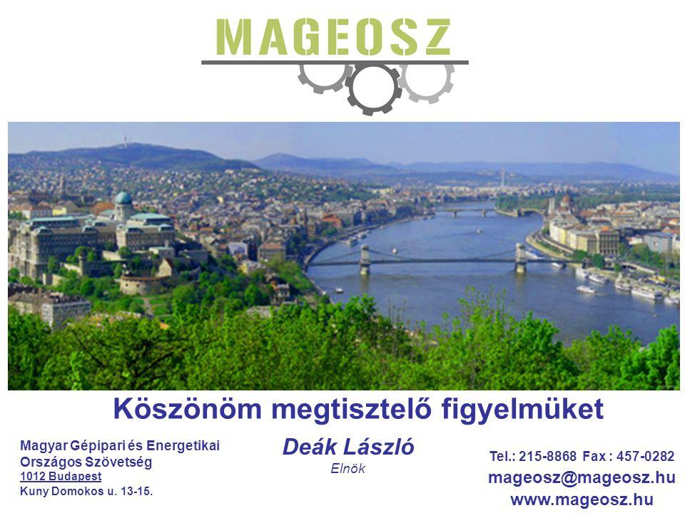 Köszönöm megtisztelő figyelmüket Deák László Elnök Magyar Gépipari és Energetikai Országos Szövetség 1012 Budapest Kuny Domokos u. 13-15. Tel.: 215-88