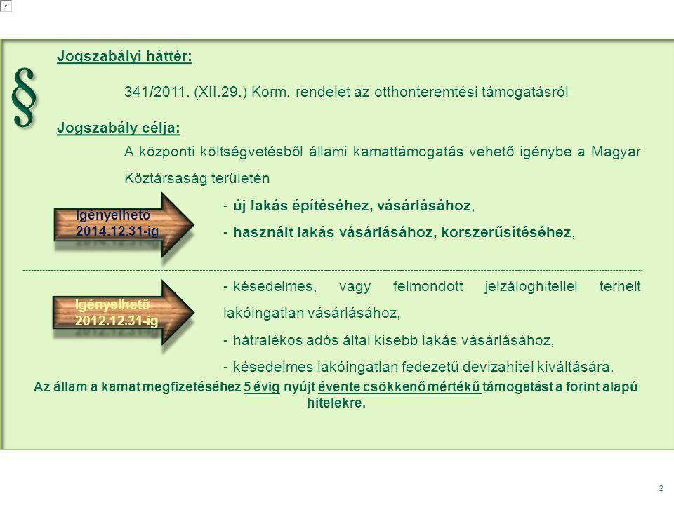 2 Jogszabályi háttér: 341/2011. (XII.29.) Korm. rendelet az otthonteremtési támogatásról Jogszabály célja: A központi költségvetésből állami kamattámo