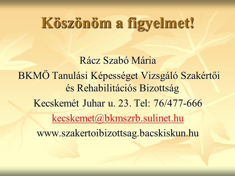 Köszönöm a figyelmet! Rácz Szabó Mária BKMÖ Tanulási Képességet Vizsgáló Szakértői és Rehabilitációs Bizottság BKMÖ Tanulási Képességet Vizsgáló Szaké