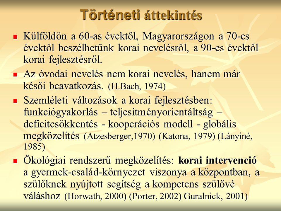 Történeti áttekintés Külföldön a 60-as évektől, Magyarországon a 70-es évektől beszélhetünk korai nevelésről, a 90-es évektől korai fejlesztésről. Kül