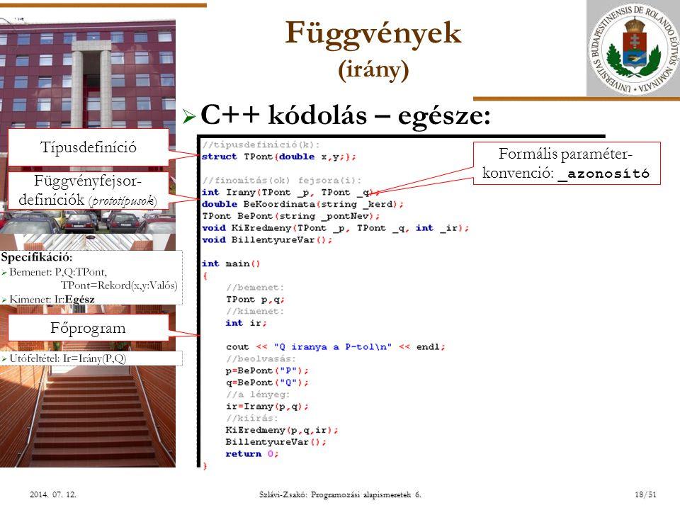 ELTE Szlávi-Zsakó: Programozási alapismeretek 6.18/512014.
