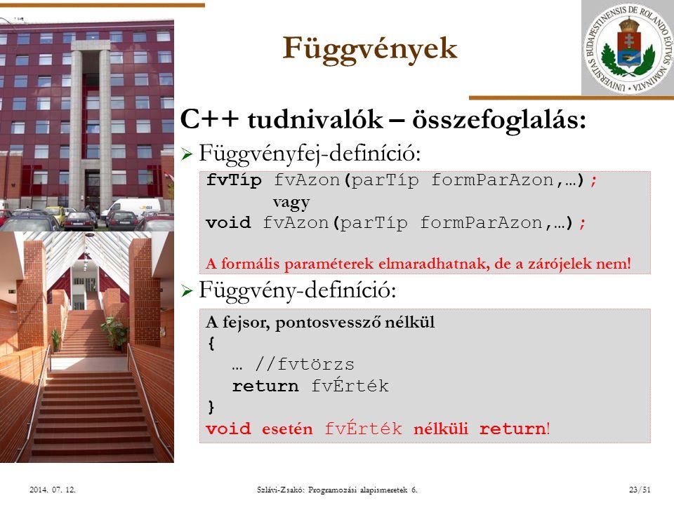 ELTE Szlávi-Zsakó: Programozási alapismeretek 6.23/512014.