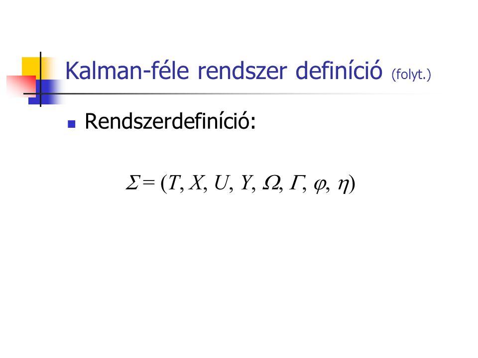 Kalman-féle rendszer definíció (folyt.) Rendszerdefiníció:  = (T, X, U, Y, , , ,  )