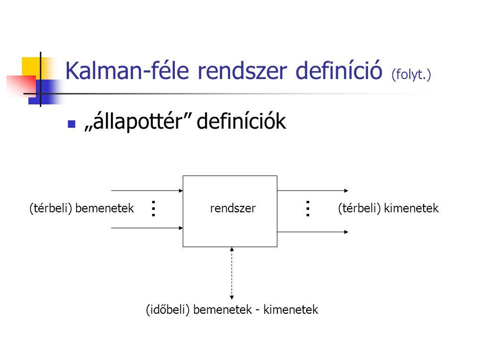 """Kalman-féle rendszer definíció (folyt.) """"állapottér definíciók (térbeli) bemenetek(térbeli) kimenetek (időbeli) bemenetek - kimenetek …… rendszer"""