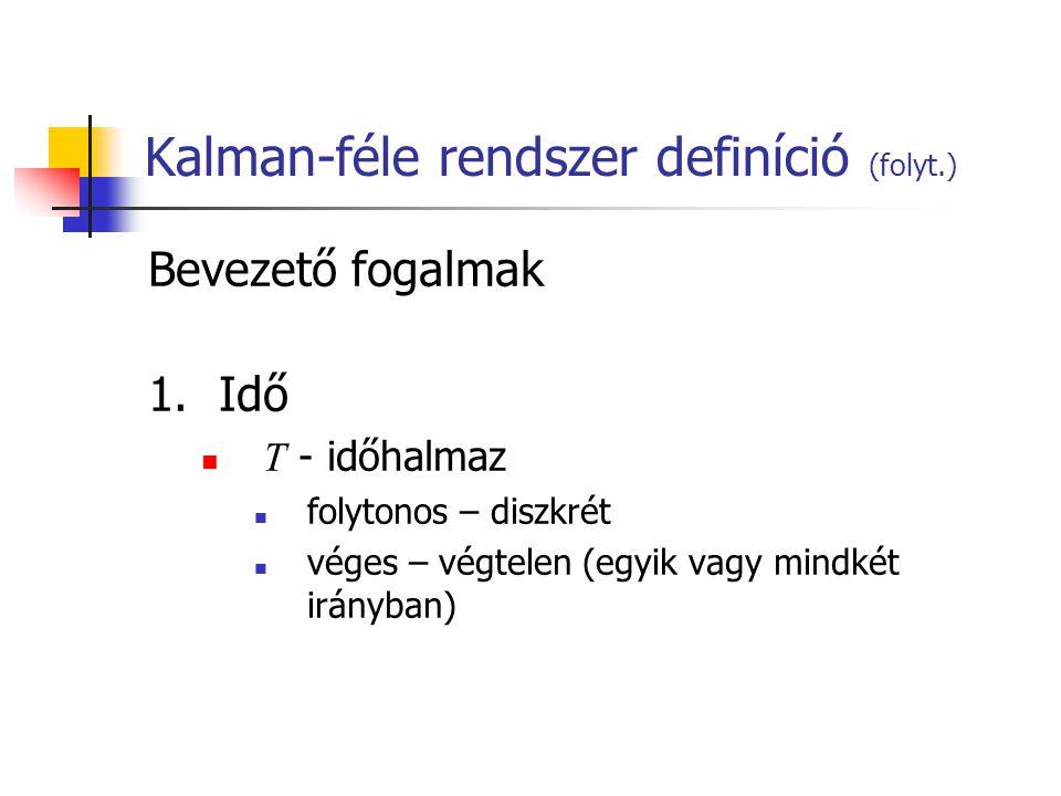 Kalman-féle rendszer definíció (folyt.) Bevezető fogalmak 1.Idő T - időhalmaz folytonos – diszkrét véges – végtelen (egyik vagy mindkét irányban)