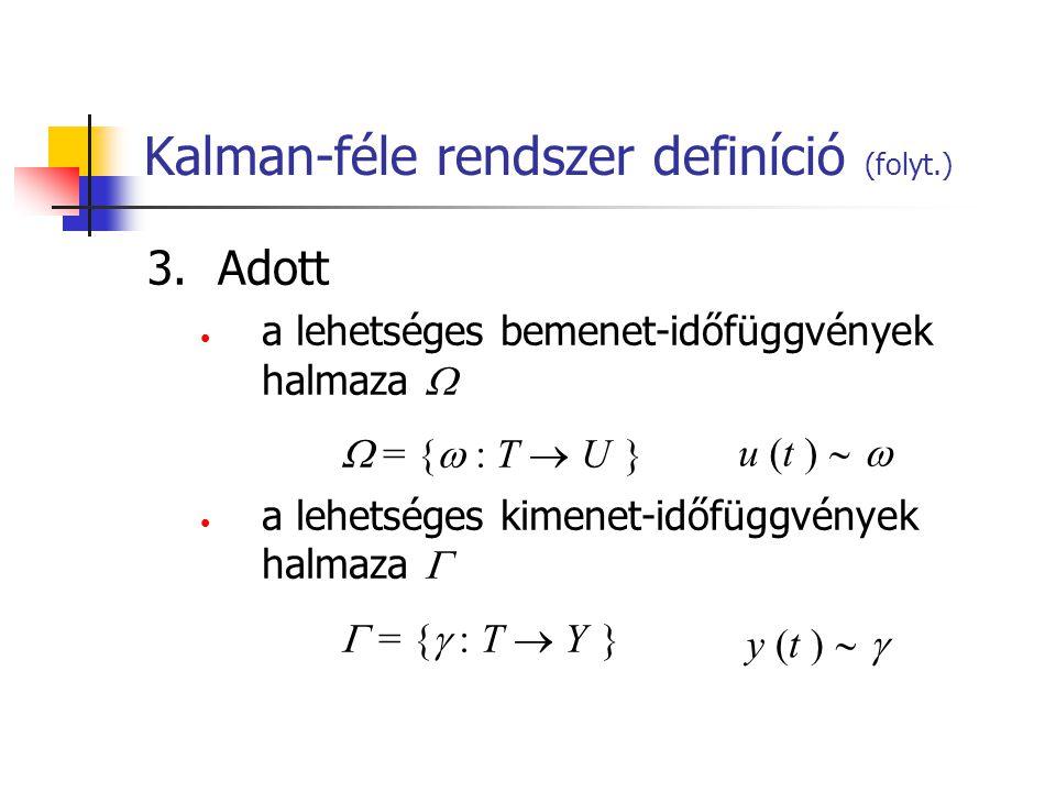 Kalman-féle rendszer definíció (folyt.) 3.Adott a lehetséges bemenet-időfüggvények halmaza   = {  : T  U } a lehetséges kimenet-időfüggvények halm