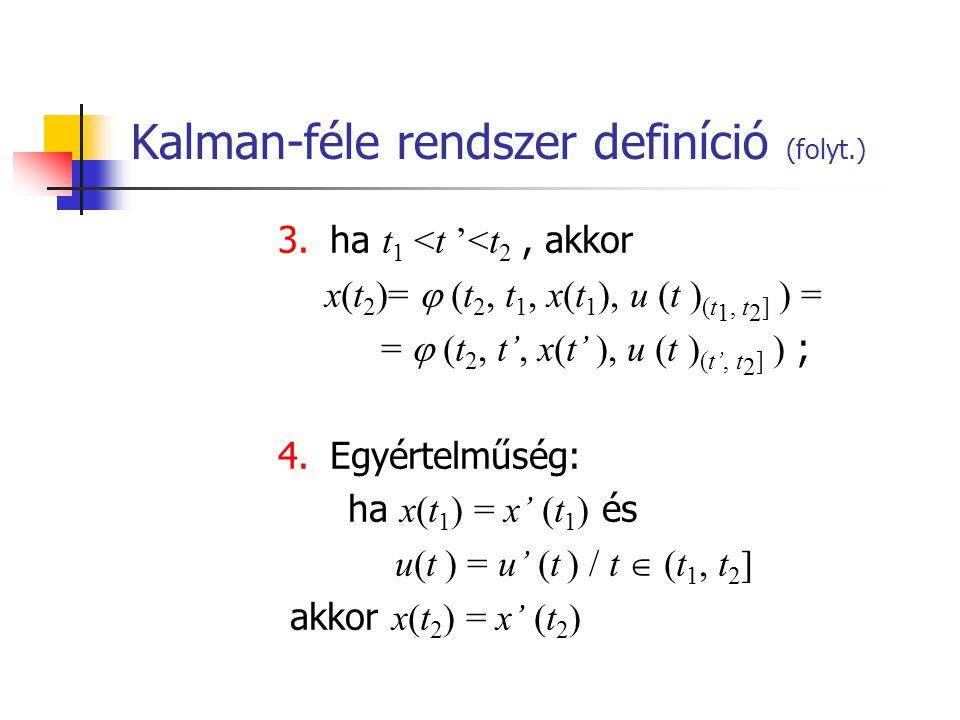 Kalman-féle rendszer definíció (folyt.) 3. ha t 1 <t '<t 2, akkor x(t 2 )=  (t 2, t 1, x(t 1 ), u (t ) (t 1, t 2 ] ) = =  (t 2, t', x(t' ), u (t ) (