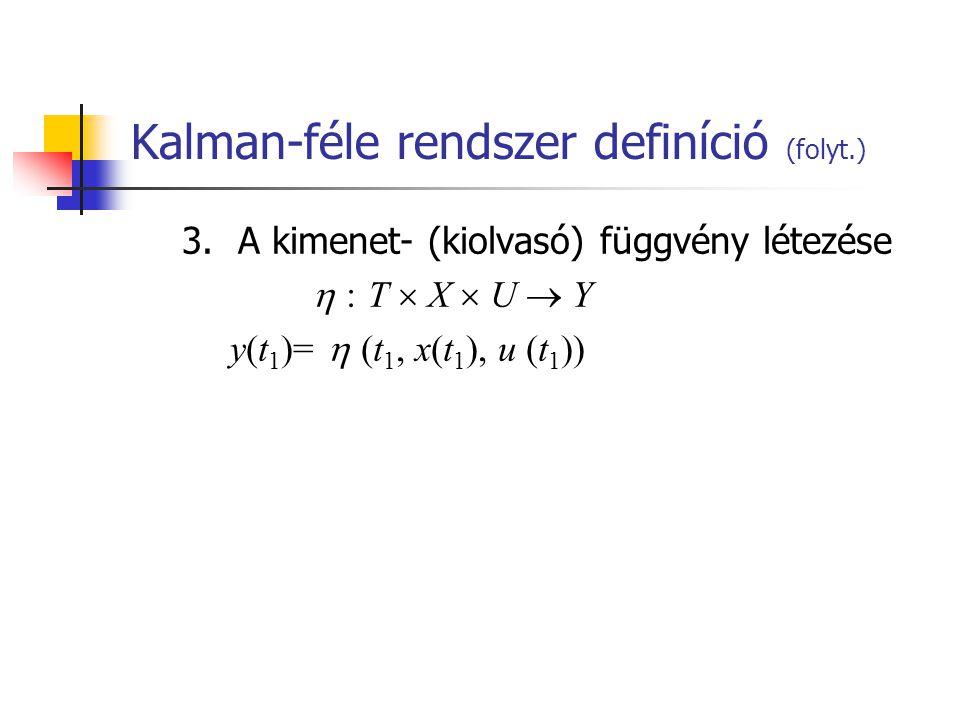 Kalman-féle rendszer definíció (folyt.) 3.A kimenet- (kiolvasó) függvény létezése  : T  X  U  Y y(t 1 )=  (t 1, x(t 1 ), u (t 1 ))