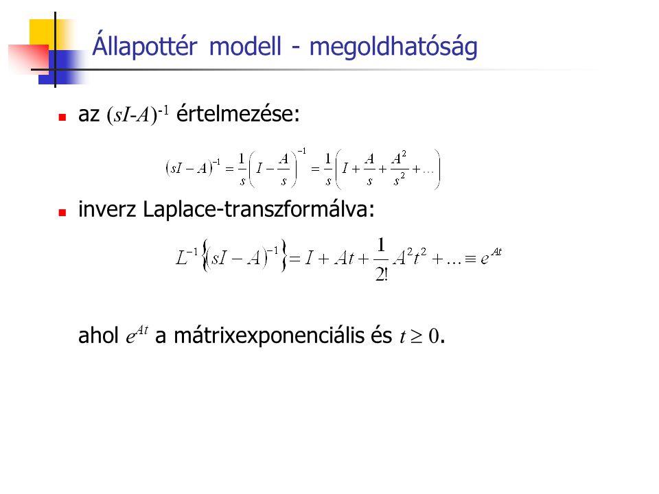 Állapottér modell - megoldhatóság az (sI-A) -1 értelmezése: inverz Laplace-transzformálva: ahol e At a mátrixexponenciális és t  0.