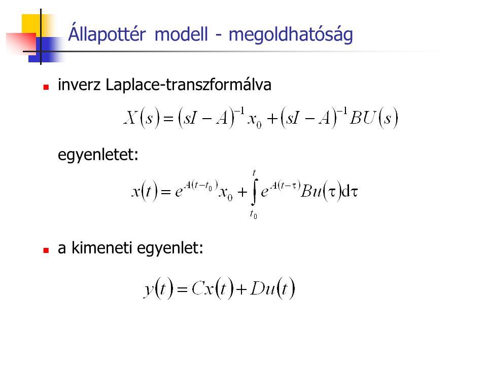 Állapottér modell - megoldhatóság inverz Laplace-transzformálva egyenletet: a kimeneti egyenlet: