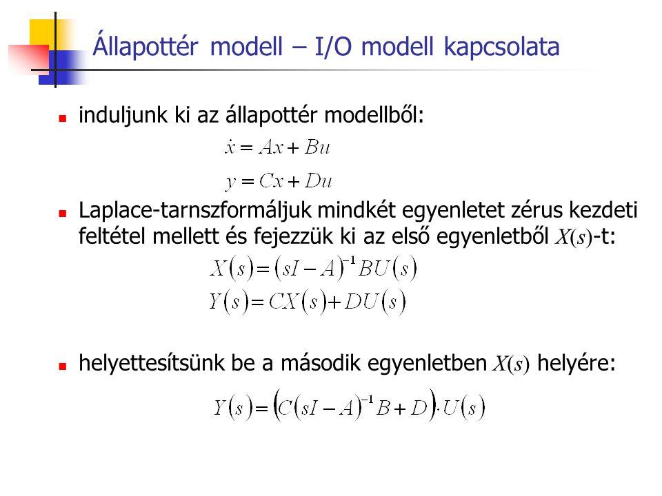 Állapottér modell – I/O modell kapcsolata induljunk ki az állapottér modellből: Laplace-tarnszformáljuk mindkét egyenletet zérus kezdeti feltétel mell