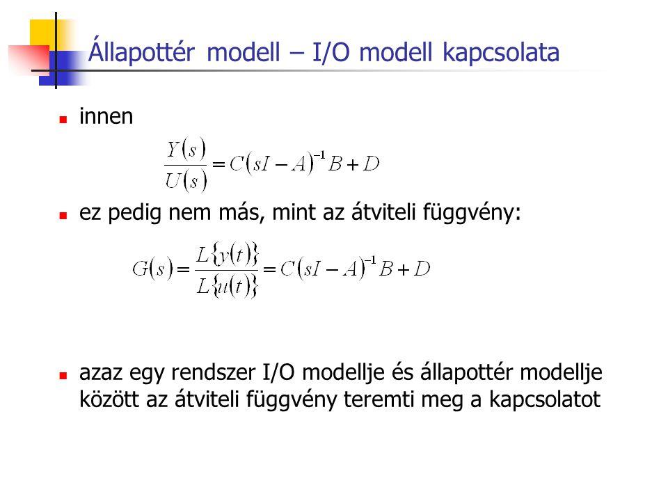 Állapottér modell – I/O modell kapcsolata innen ez pedig nem más, mint az átviteli függvény: azaz egy rendszer I/O modellje és állapottér modellje köz