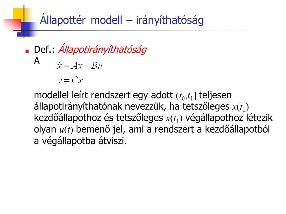 Állapottér modell – irányíthatóság Def.: Állapotirányíthatóság A modellel leírt rendszert egy adott (t 0,t 1 ] teljesen állapotirányíthatónak nevezzük