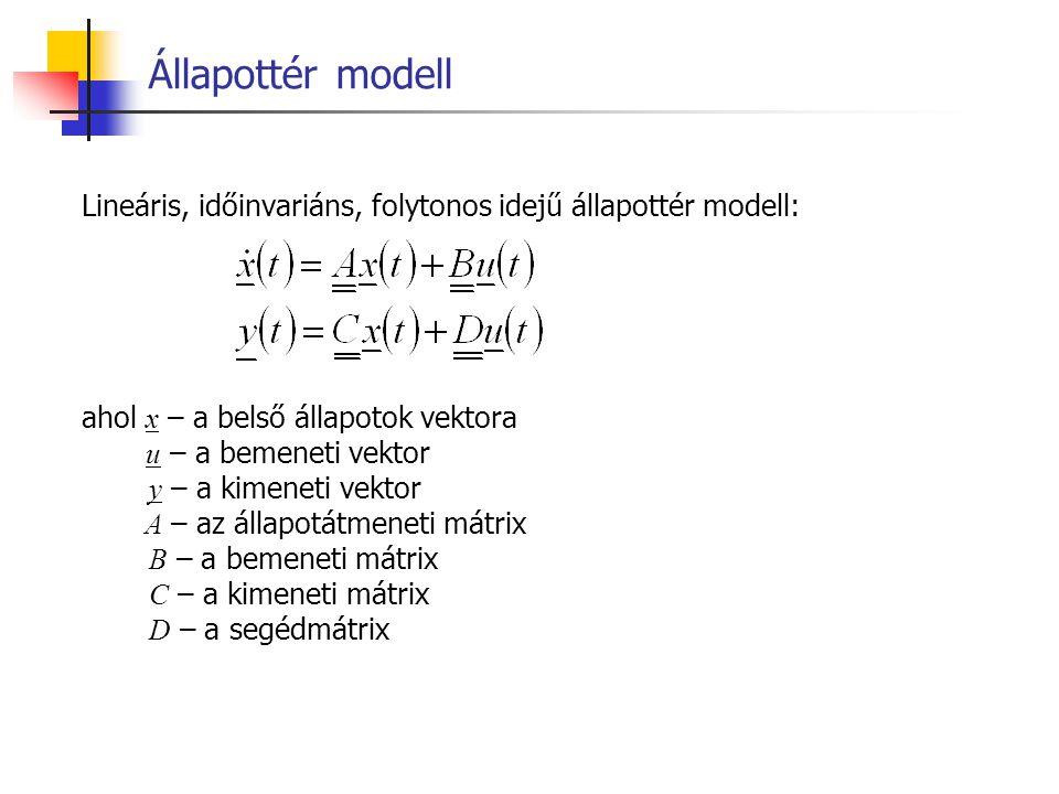 Lineáris, időinvariáns, folytonos idejű állapottér modell: ahol x – a belső állapotok vektora u – a bemeneti vektor y – a kimeneti vektor A – az állap