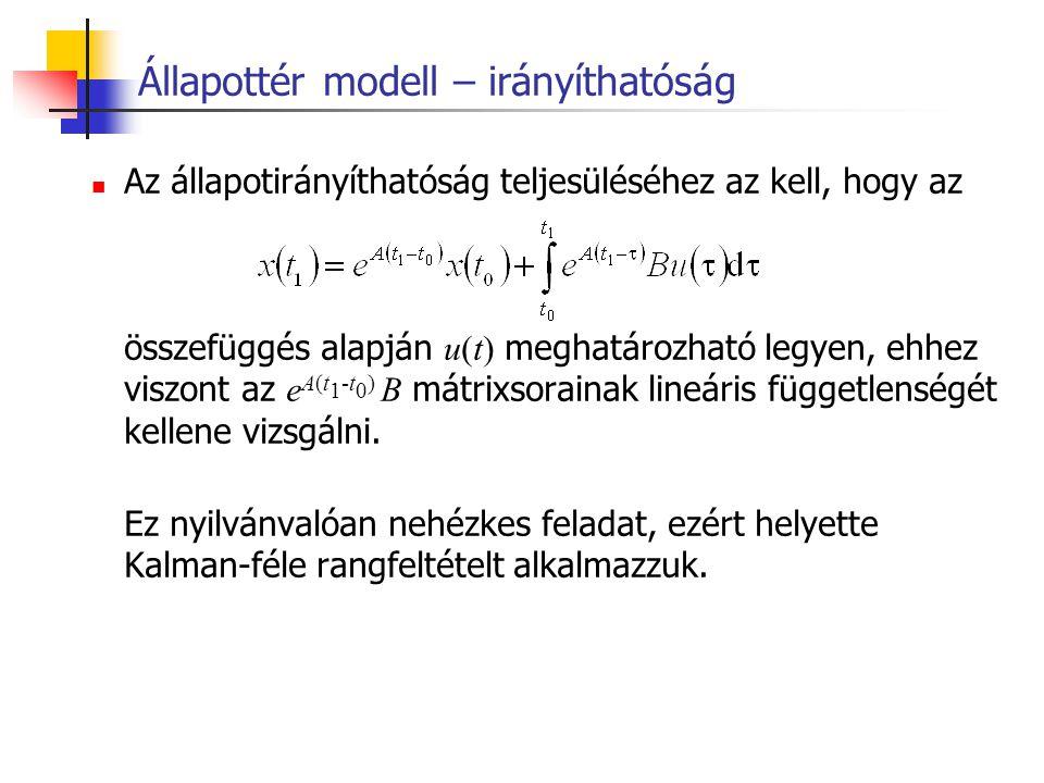 Állapottér modell – irányíthatóság Az állapotirányíthatóság teljesüléséhez az kell, hogy az összefüggés alapján u(t) meghatározható legyen, ehhez visz
