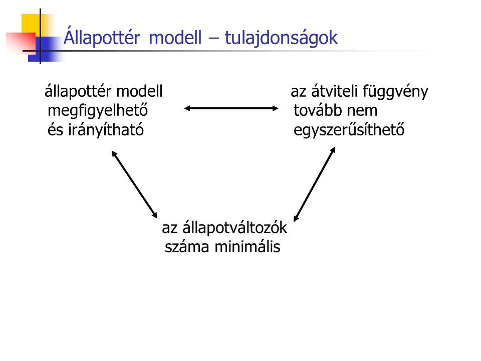 Állapottér modell – tulajdonságok állapottér modell megfigyelhető és irányítható az átviteli függvény tovább nem egyszerűsíthető az állapotváltozók sz