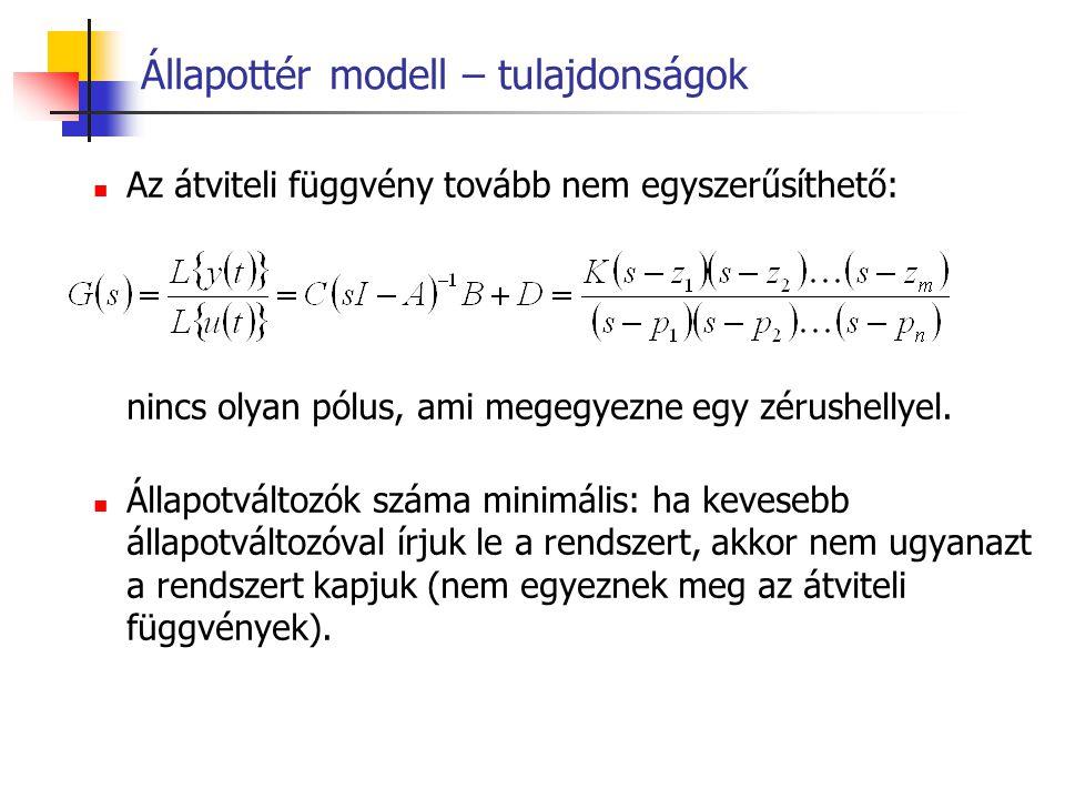 Állapottér modell – tulajdonságok Az átviteli függvény tovább nem egyszerűsíthető: nincs olyan pólus, ami megegyezne egy zérushellyel. Állapotváltozók