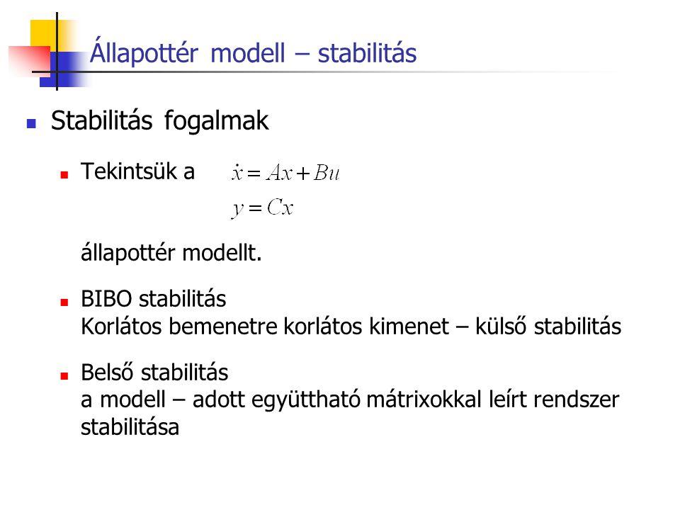 Állapottér modell – stabilitás Stabilitás fogalmak Tekintsük a állapottér modellt. BIBO stabilitás Korlátos bemenetre korlátos kimenet – külső stabili