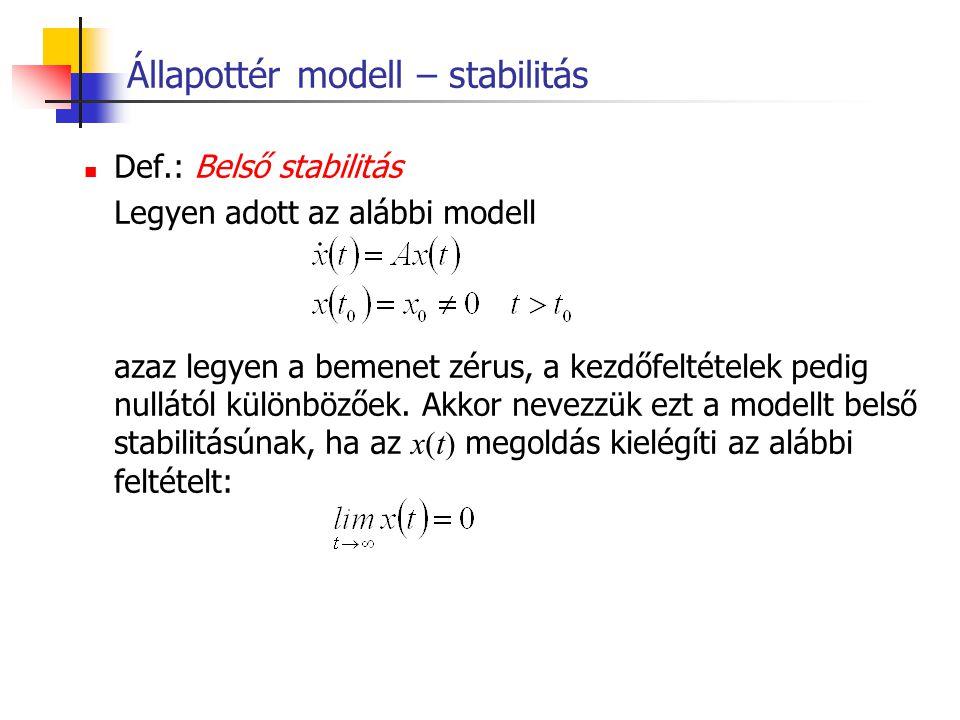 Állapottér modell – stabilitás Def.: Belső stabilitás Legyen adott az alábbi modell azaz legyen a bemenet zérus, a kezdőfeltételek pedig nullától külö